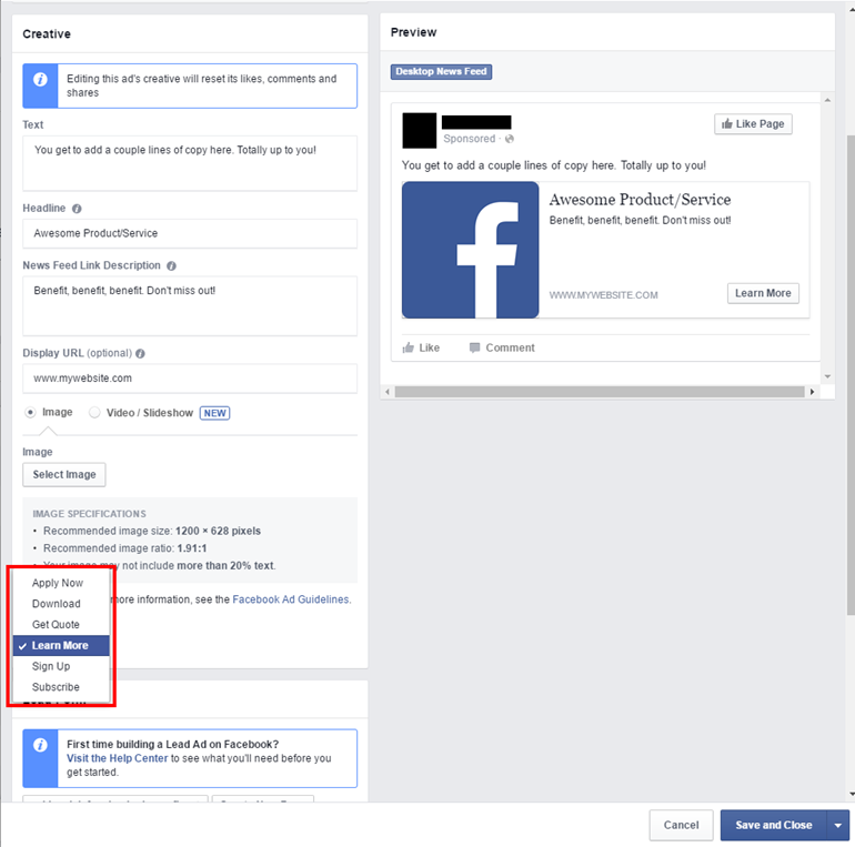 Facebook-Lead-Ad-Creation