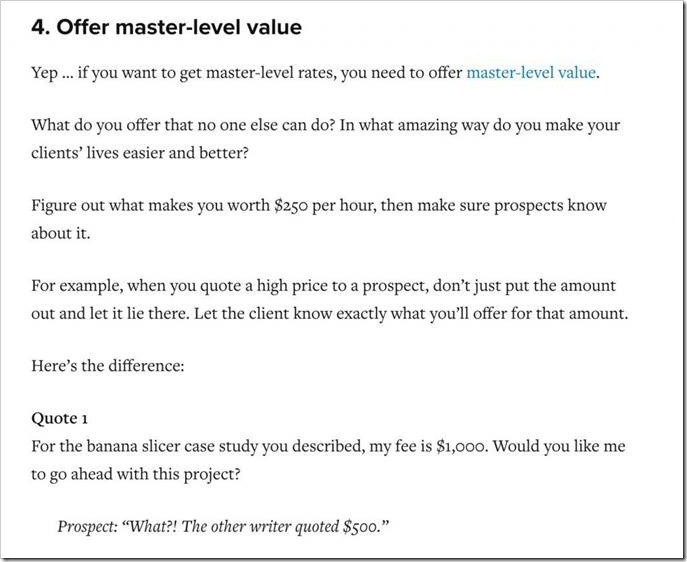 Formatting example from Copyblogger