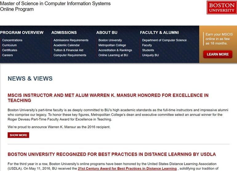 Boston University Online Masters Computer Information