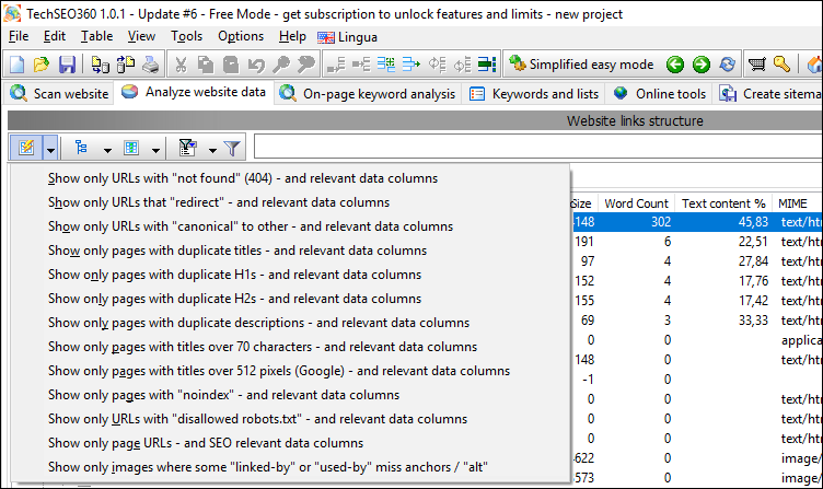 select from predefined quick reports